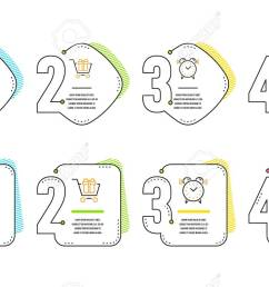 shopping cart gift box and alarm clock icons simple set surprise package sign  [ 1300 x 802 Pixel ]