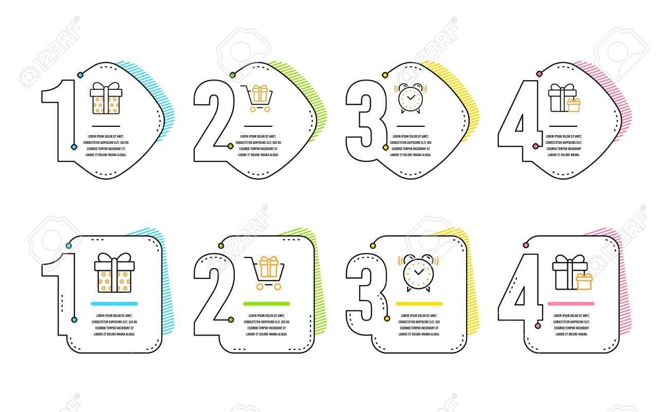 hight resolution of shopping cart gift box and alarm clock icons simple set surprise package sign