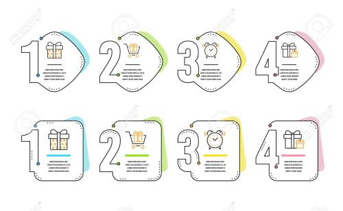 small resolution of shopping cart gift box and alarm clock icons simple set surprise package sign