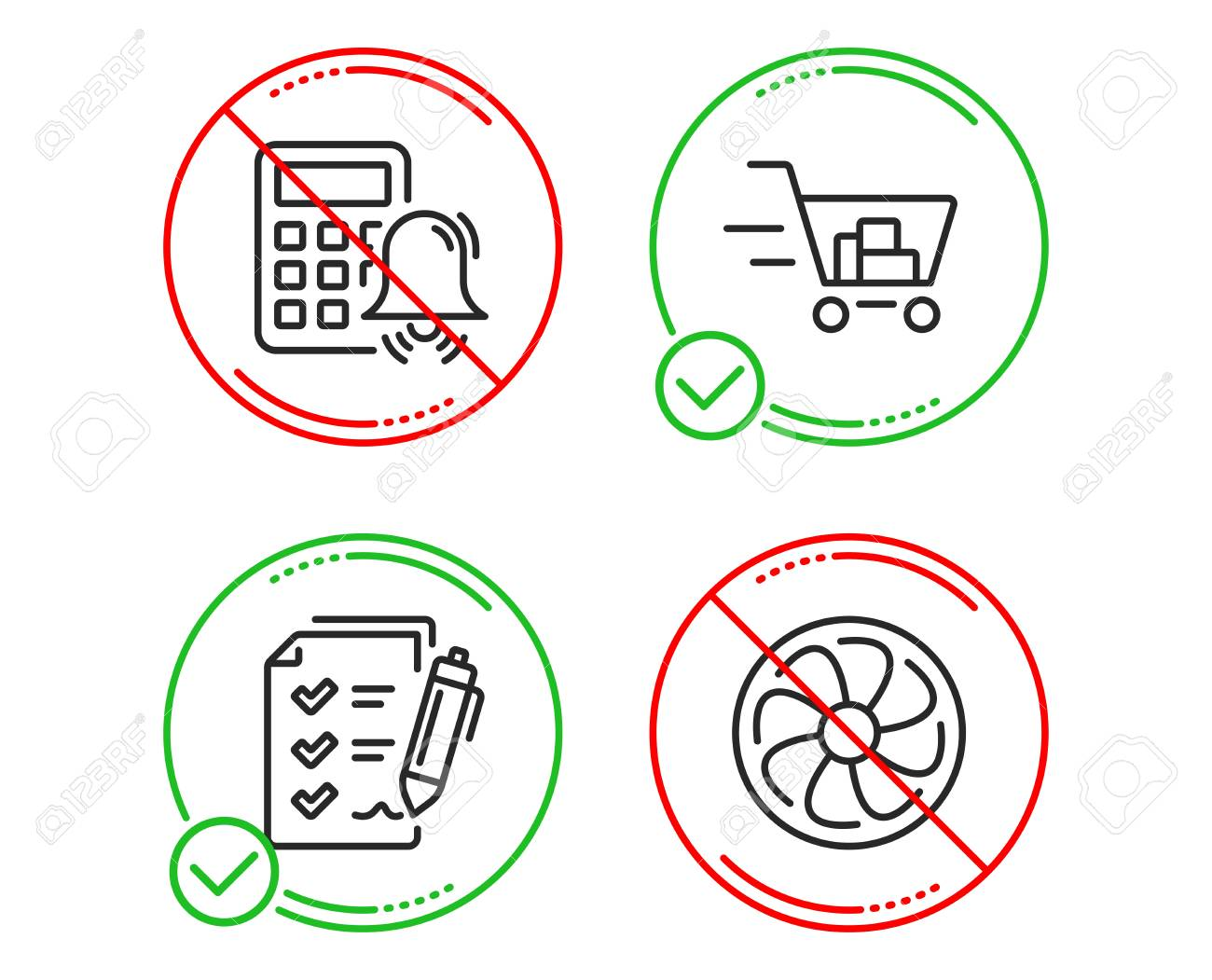 hight resolution of calculator alarm survey checklist and shopping cart icons simple set