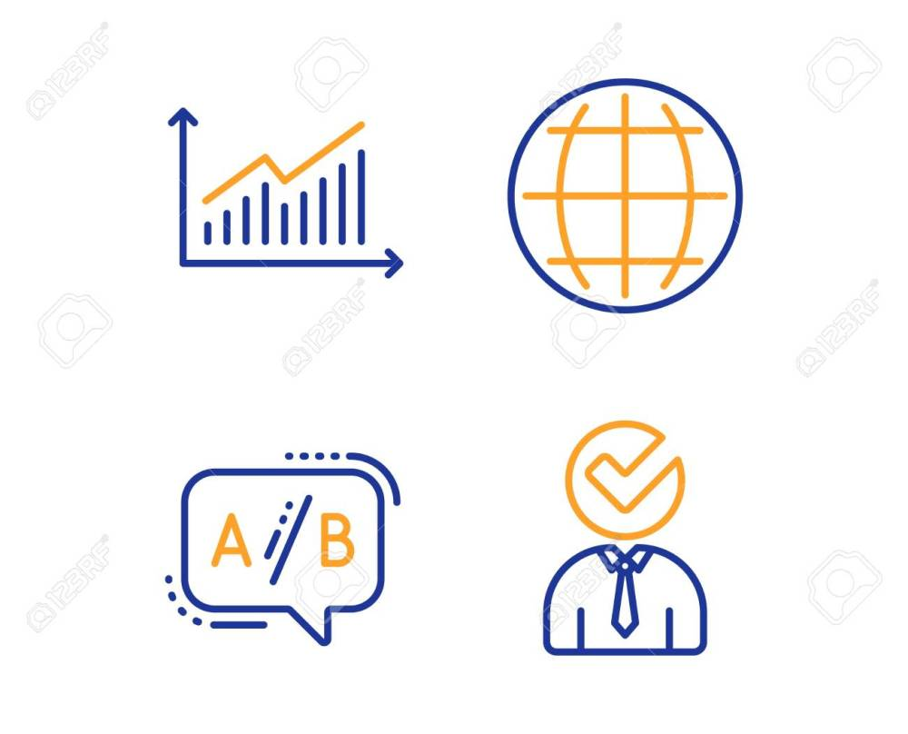 medium resolution of graph ab testing and globe icons simple set vacancy sign presentation diagram
