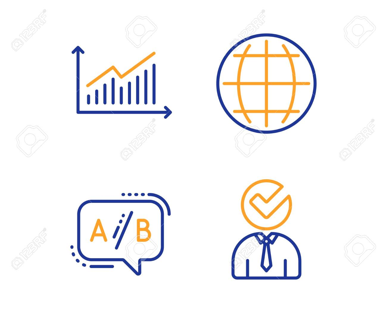 hight resolution of graph ab testing and globe icons simple set vacancy sign presentation diagram