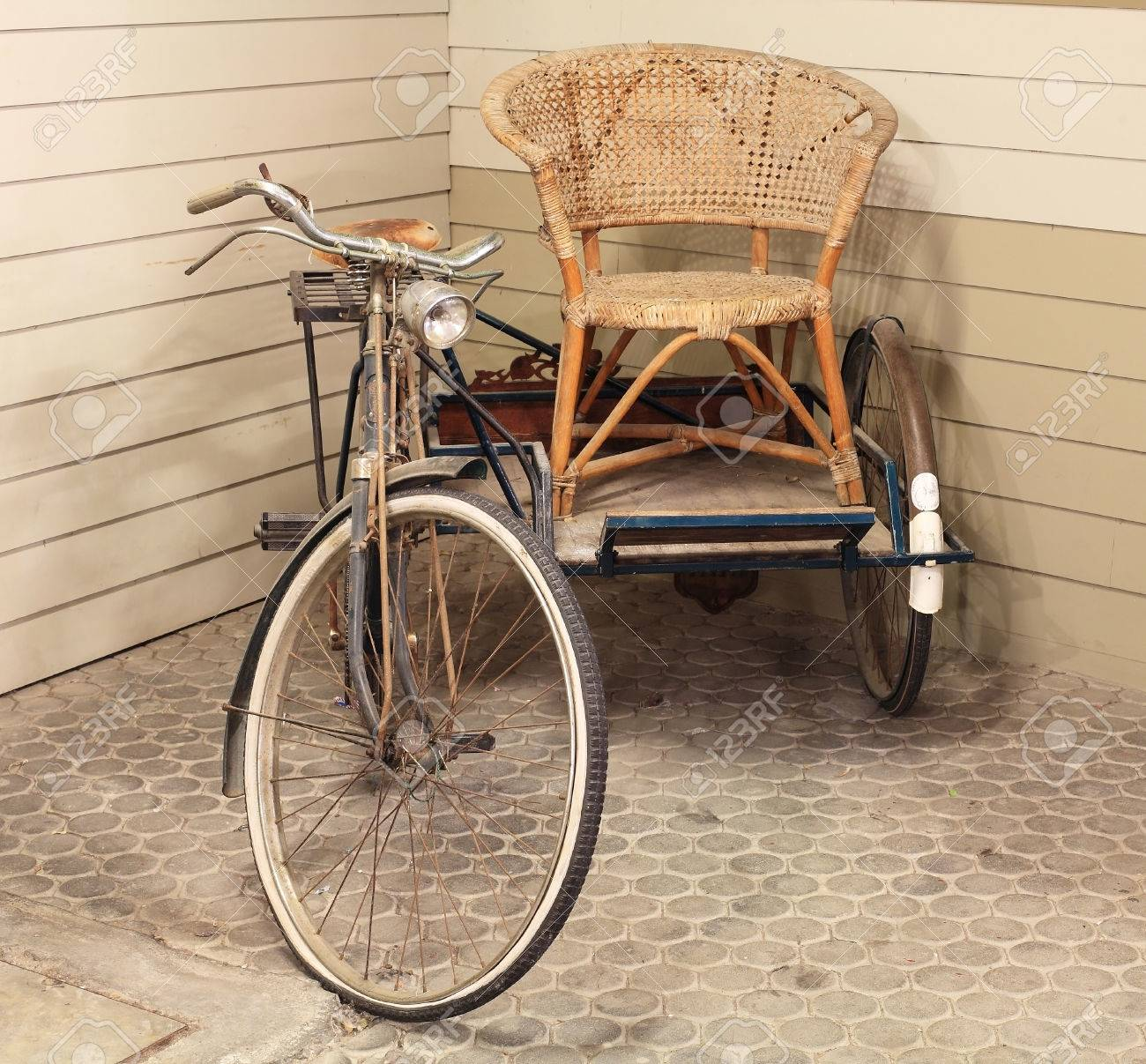 Vintage Rattan Chair Vintage Old Bicycle And Side Trailer With Rattan Chair