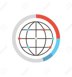 thin line icon with flat design element of global data graph and diagram world network [ 1300 x 1300 Pixel ]