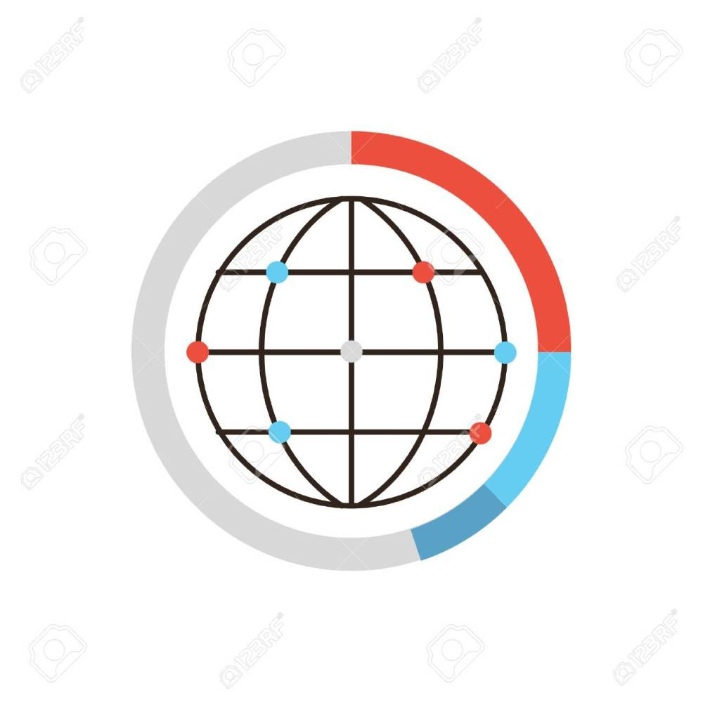 medium resolution of thin line icon with flat design element of global data graph and diagram world network