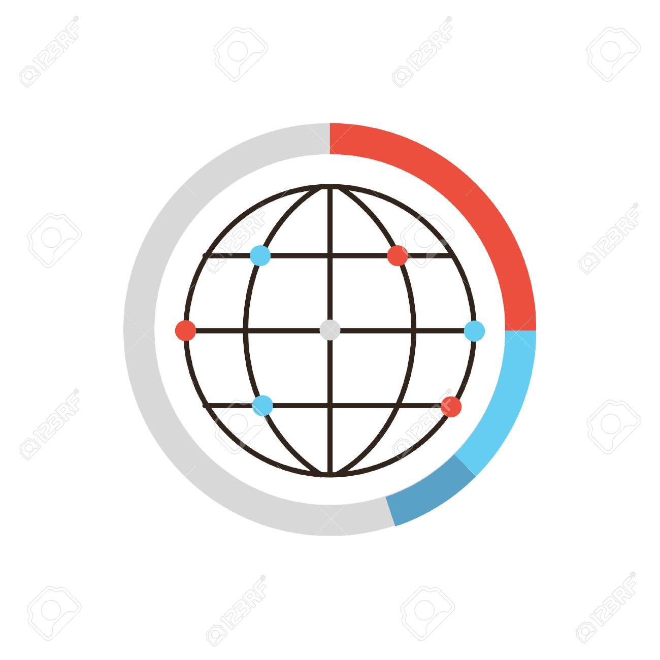 hight resolution of thin line icon with flat design element of global data graph and diagram world network