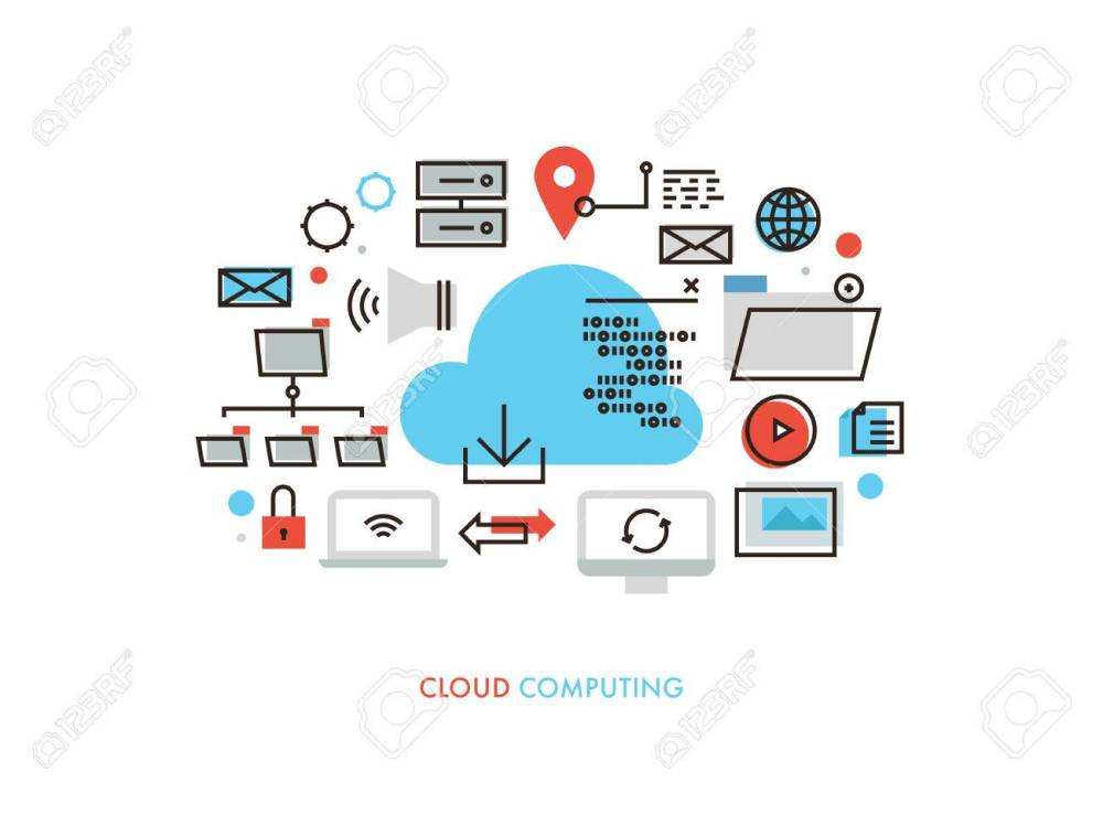 medium resolution of thin line flat design of cloud computing datum architecture internet network security connection for worldwide