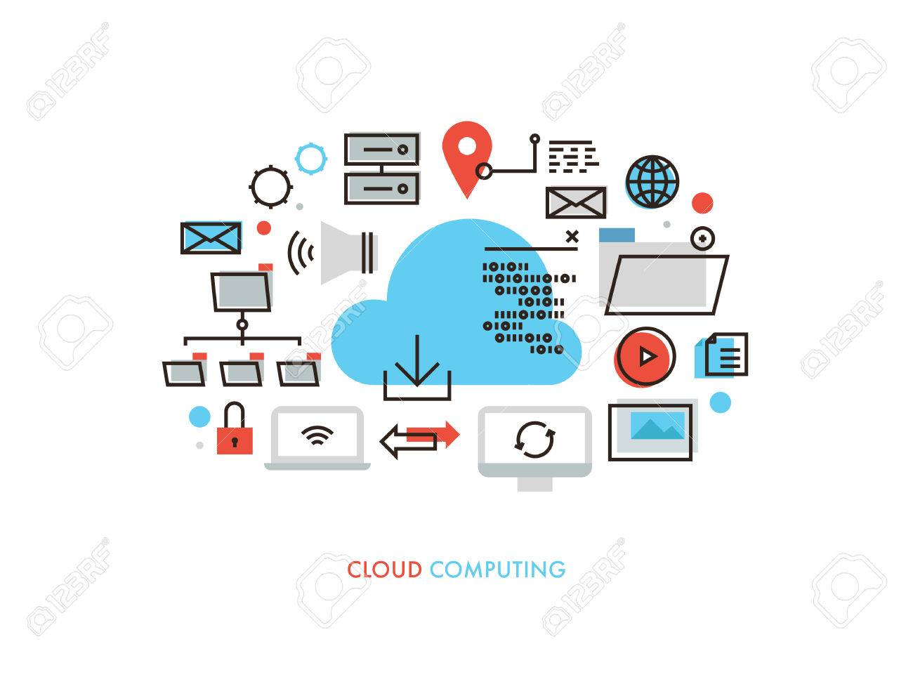 hight resolution of thin line flat design of cloud computing datum architecture internet network security connection for worldwide