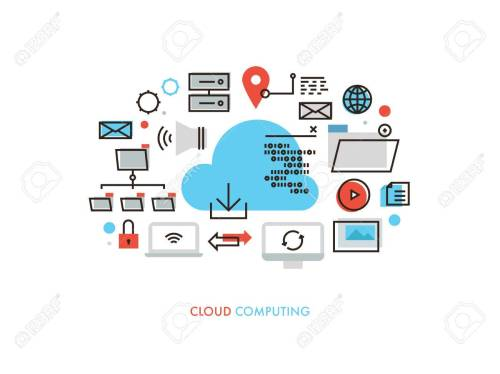 small resolution of thin line flat design of cloud computing datum architecture internet network security connection for worldwide