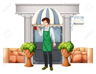 Illustration Of A Barista Outside The Restaurant On A White Background Royalty Free Cliparts Vectors And Stock Illustration Image 25210980