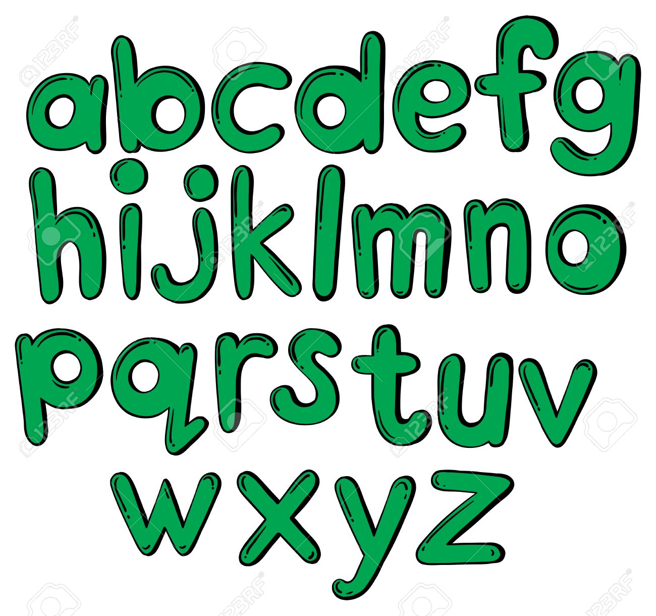 green letters of the