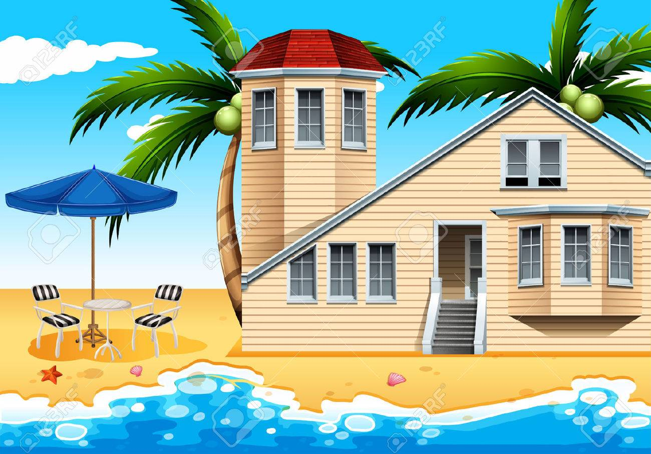 A Relaxing Vacation House At The Beach Royalty Free Cliparts Vectors And Stock Illustration Image 34043020
