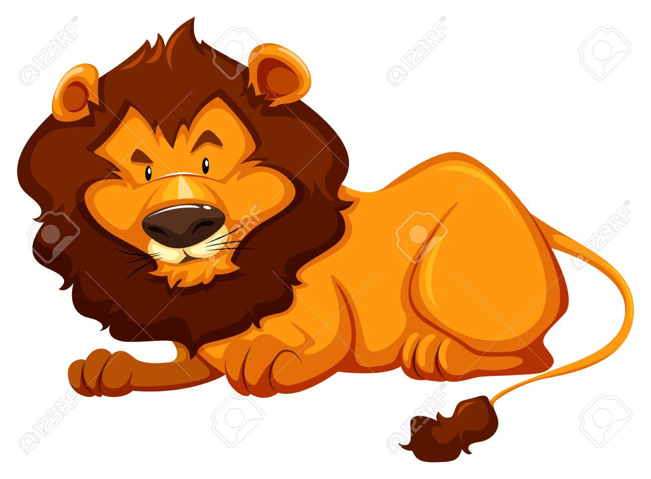 hight resolution of sitting lion on white background stock vector 39163442