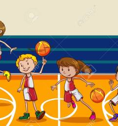 people playing basketball in the gym stock vector 42297814 [ 1300 x 826 Pixel ]