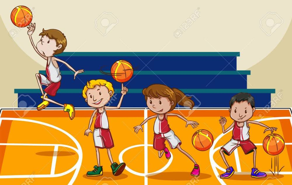 medium resolution of people playing basketball in the gym stock vector 42297814