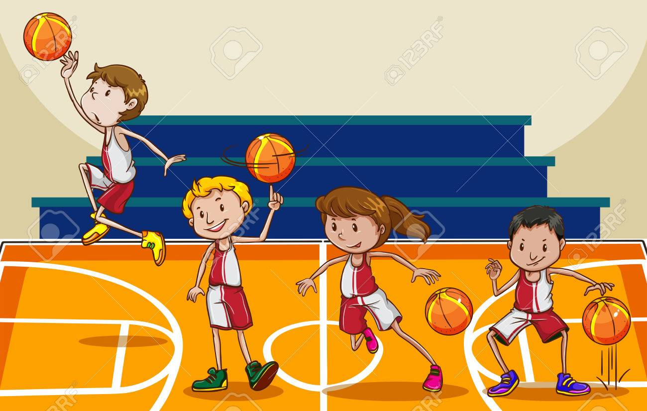 hight resolution of people playing basketball in the gym stock vector 42297814