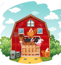 farm animals in the barn stock vector 42519915 [ 1300 x 1226 Pixel ]