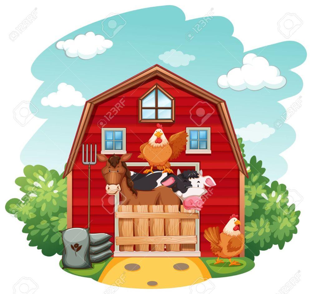 medium resolution of farm animals in the barn stock vector 42519915