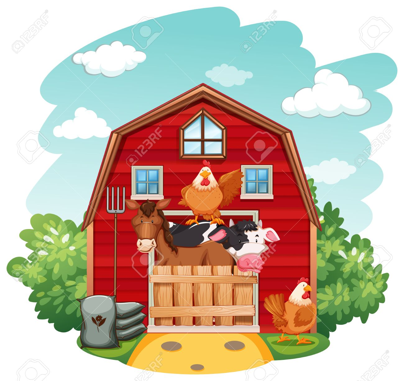 hight resolution of farm animals in the barn stock vector 42519915