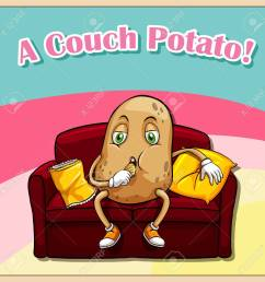 english idiom saying a couch potato stock vector 42520081 [ 1300 x 1300 Pixel ]