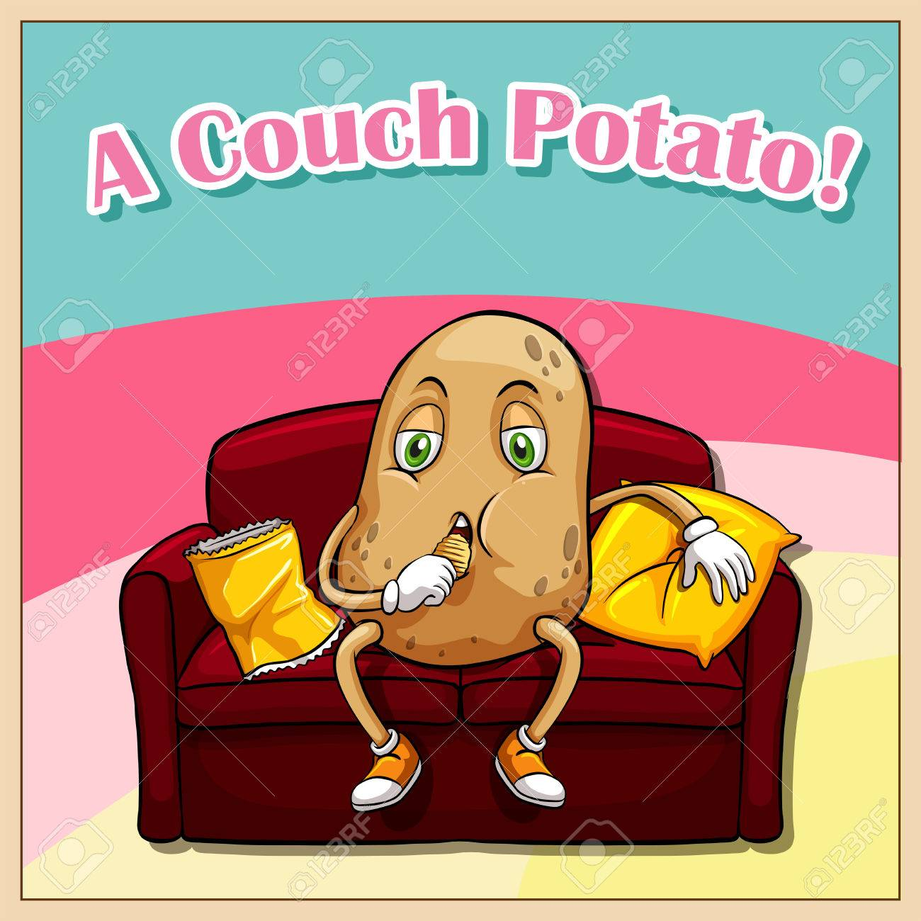 hight resolution of english idiom saying a couch potato stock vector 42520081