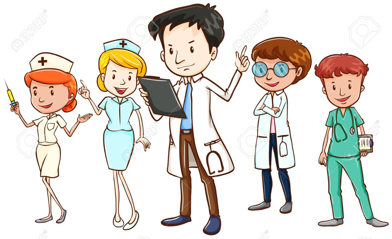 hight resolution of team of doctors and nurses standing on white background
