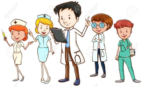small resolution of team of doctors and nurses standing on white background