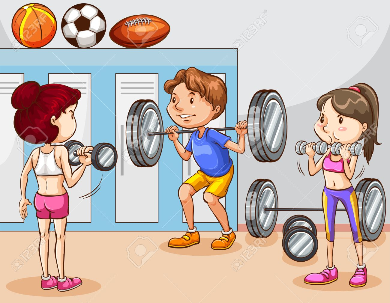 hight resolution of people working out in gym illustration stock vector 43332347