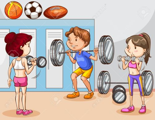 small resolution of people working out in gym illustration stock vector 43332347