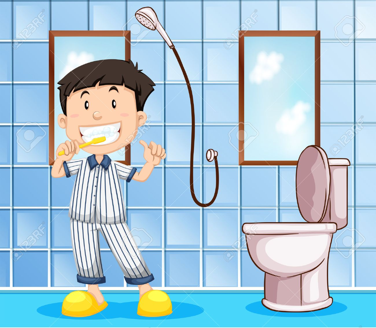 Boy Brushing Teeth In The Bathroom Illustration Royalty Free Cliparts Vectors And Stock Illustration Image 48391241