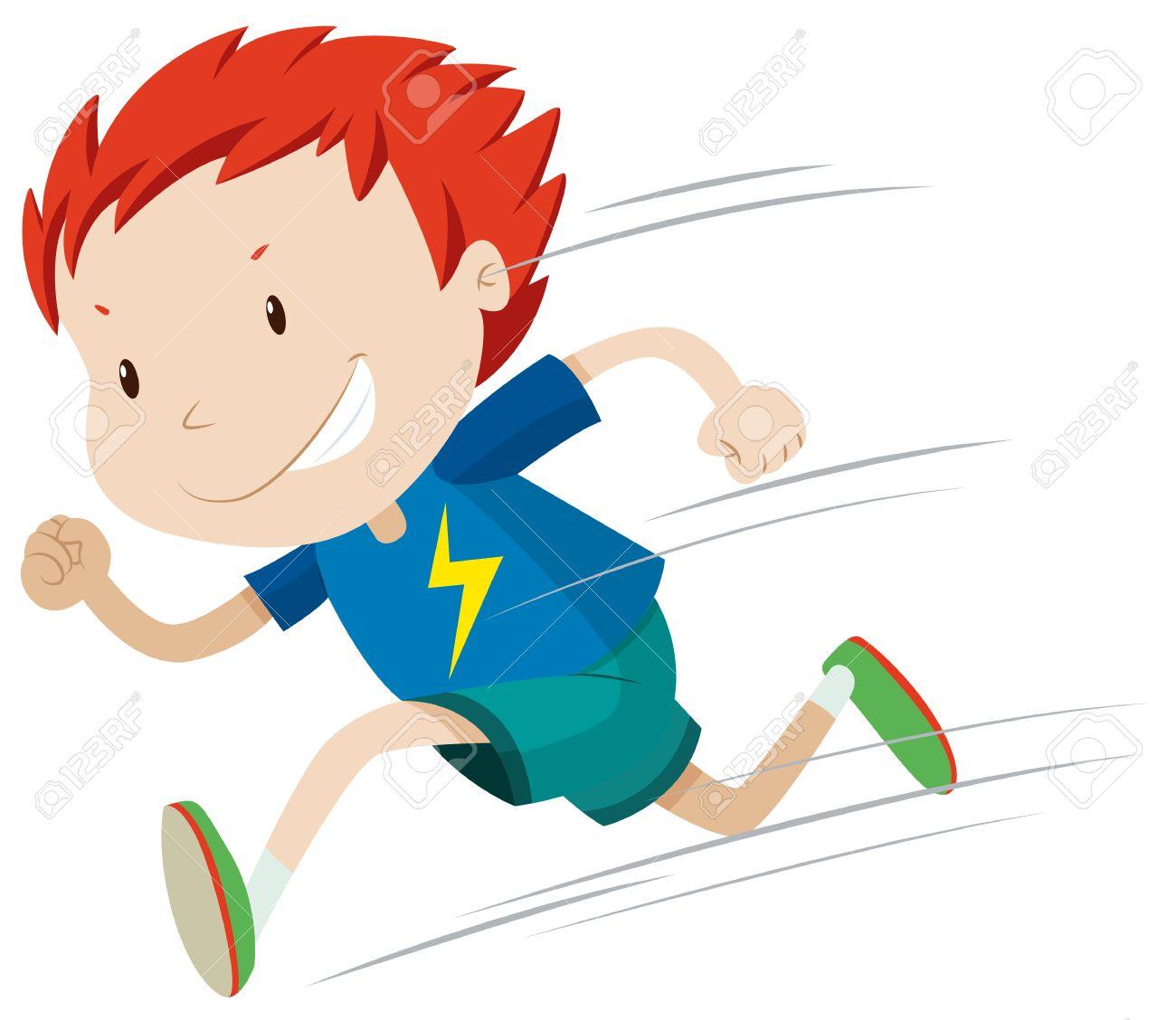 hight resolution of boy running very fast illustration stock vector 48543510