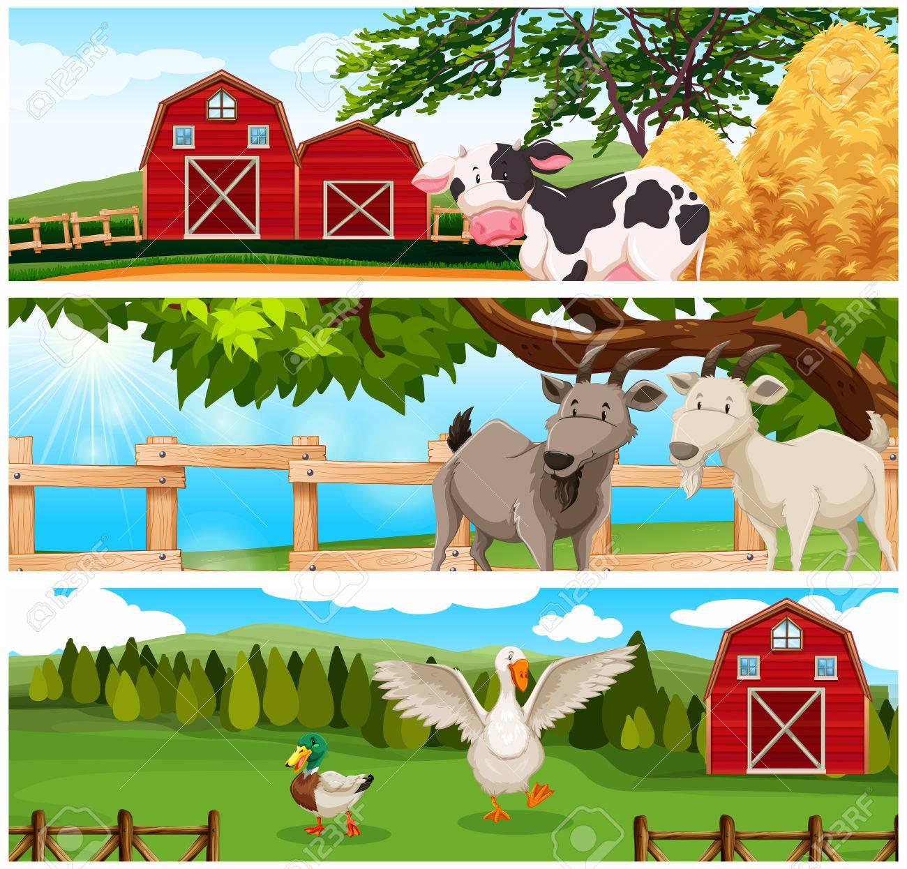 hight resolution of farm animals on the farmland illustration stock vector 48833509
