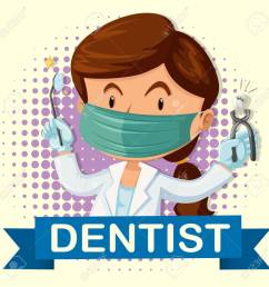 female dentist with tooth and tools illustration stock vector 48833703 [ 1300 x 1300 Pixel ]