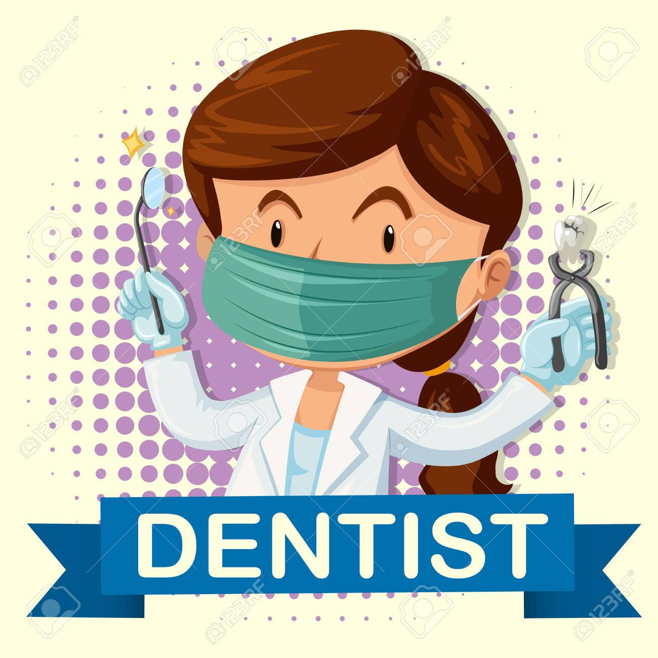 hight resolution of female dentist with tooth and tools illustration stock vector 48833703
