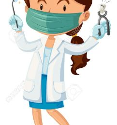 female dentist with tooth and tools illustration stock vector 48902059 [ 750 x 1300 Pixel ]