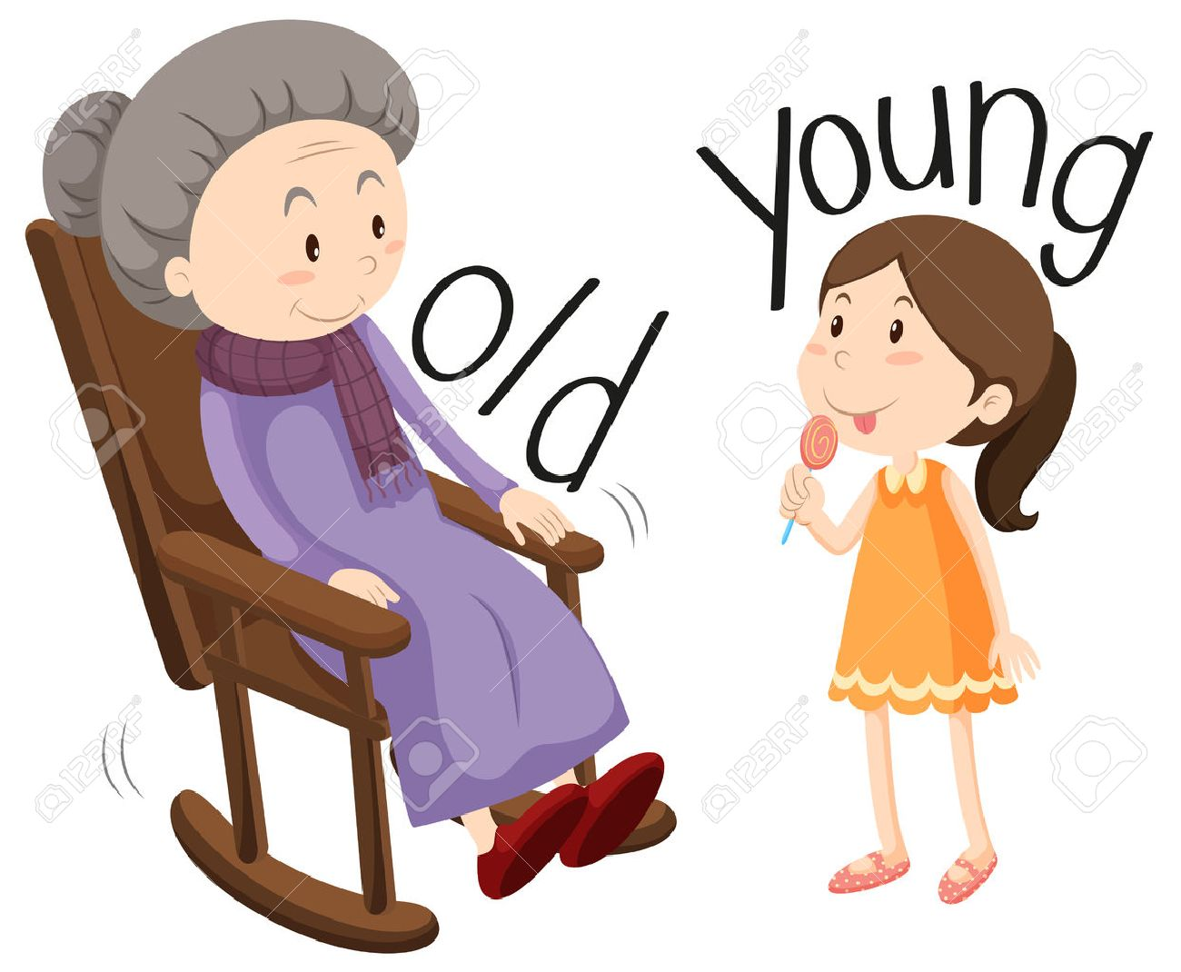 hight resolution of old woman and young girl illustration stock vector 49135231