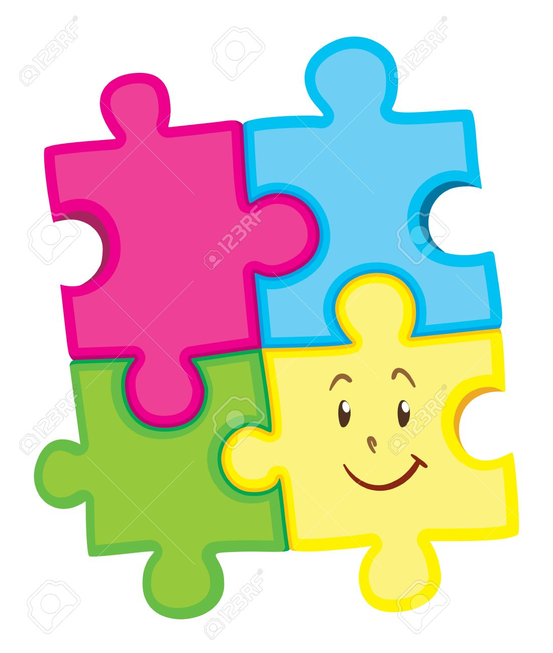 hight resolution of jigsaw puzzle pieces with happy face illustration stock vector 49650697
