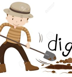 man with shovel digging a hole illustration stock vector 52039124 [ 1300 x 1020 Pixel ]