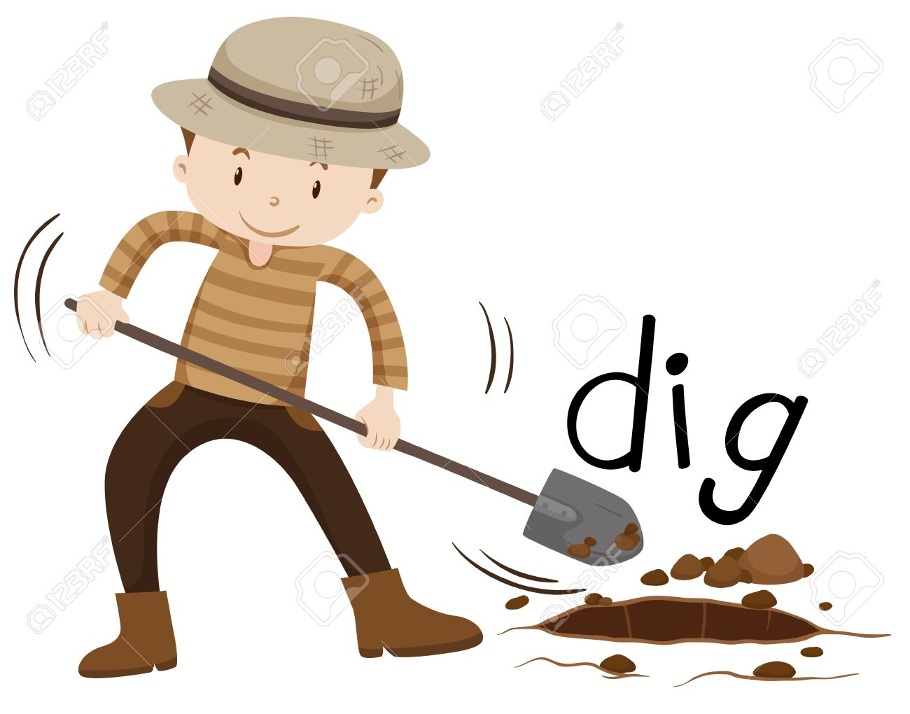 hight resolution of man with shovel digging a hole illustration stock vector 52039124