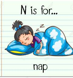 flashcard letter n is for nap illustration stock vector 54478626 [ 1300 x 1159 Pixel ]