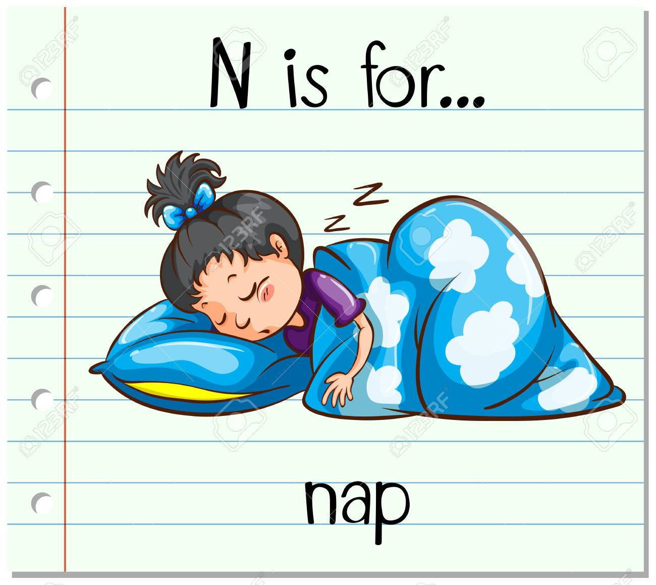 hight resolution of flashcard letter n is for nap illustration stock vector 54478626