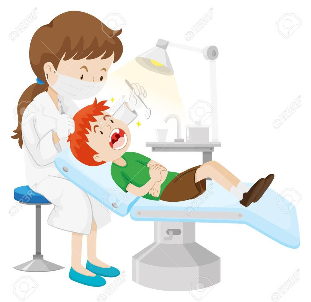 medium resolution of boy having teeth checked by dentist illustration stock vector 56712944
