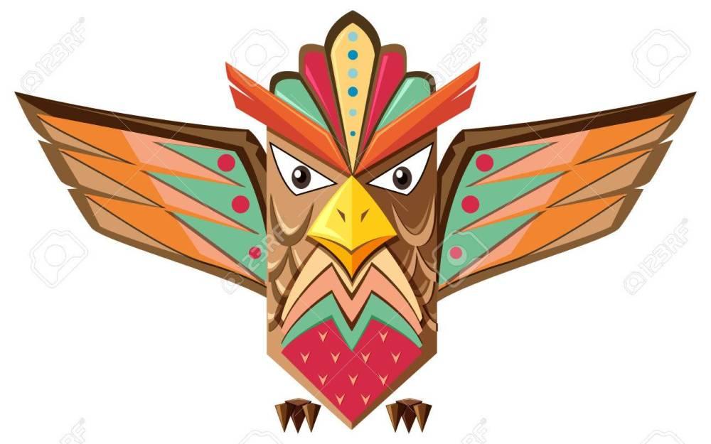 medium resolution of totem pole shaped of an owl illustration stock vector 58804774