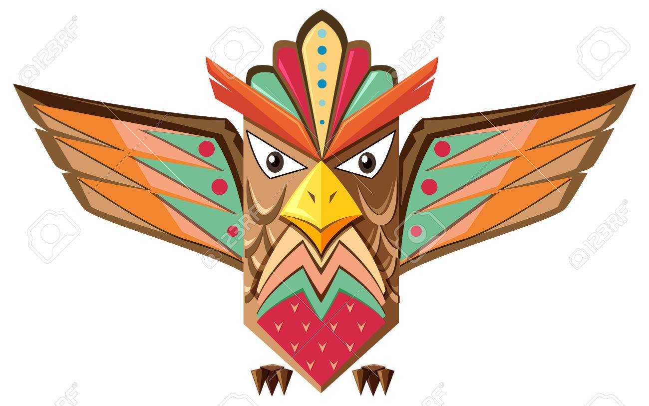 hight resolution of totem pole shaped of an owl illustration stock vector 58804774