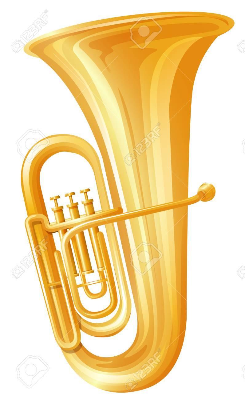 medium resolution of golden tuba on white background illustration stock vector 59363846