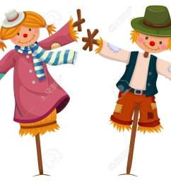 two scarecrows look like girl and boy illustration stock vector 61180499 [ 1300 x 965 Pixel ]