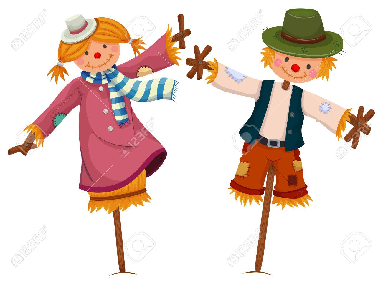 hight resolution of two scarecrows look like girl and boy illustration stock vector 61180499