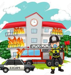 fire fighter at the fire station illustration stock vector 61350224 [ 1300 x 1199 Pixel ]