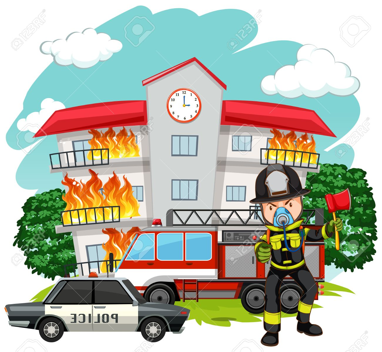 hight resolution of fire fighter at the fire station illustration stock vector 61350224