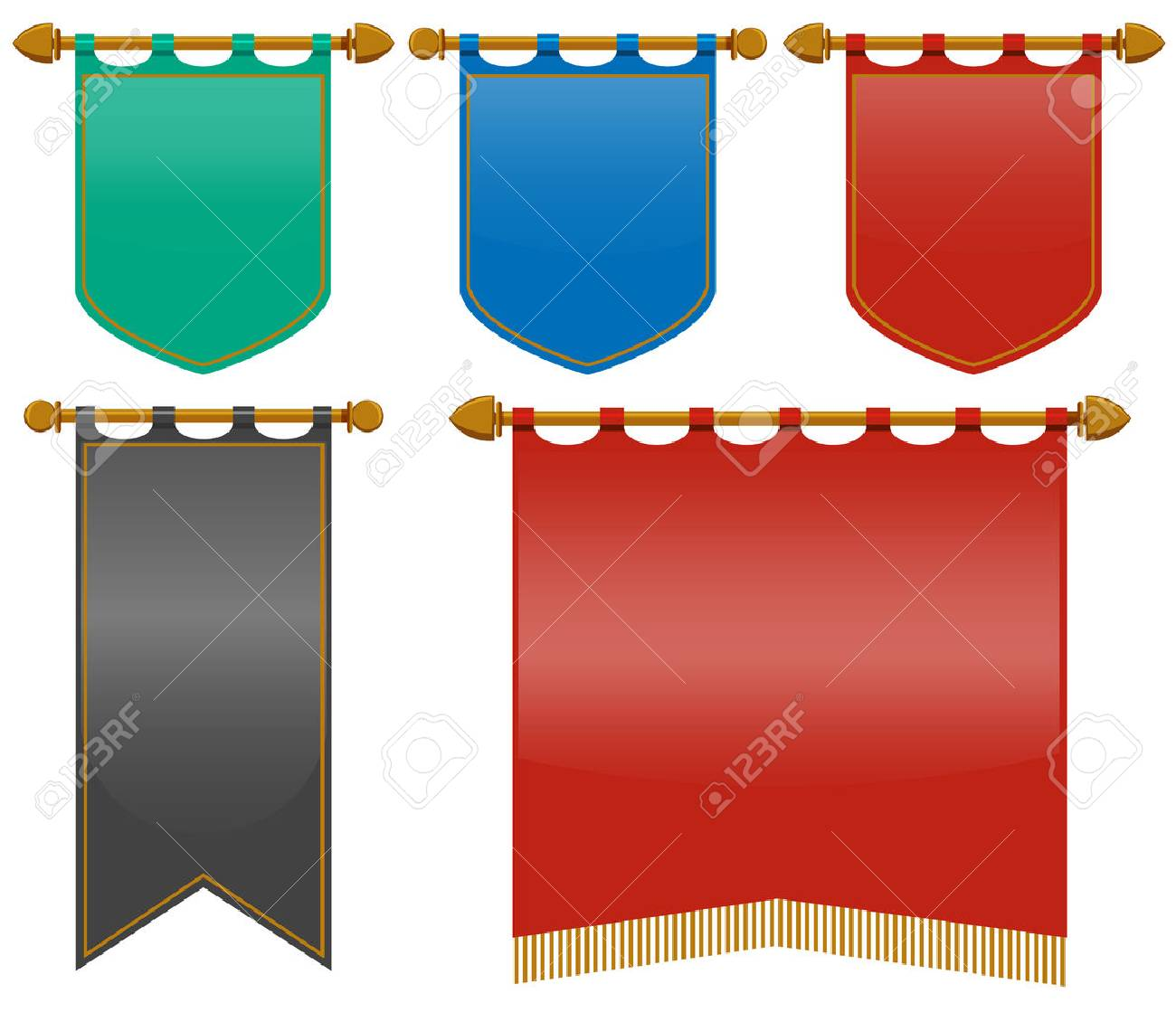 medieval flags in different